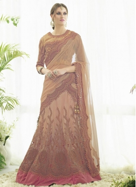 Beige and Peach Net Designer Lehenga Choli For Festival