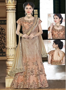 Beige and Peach Satin Silk Designer Classic Lehenga Choli