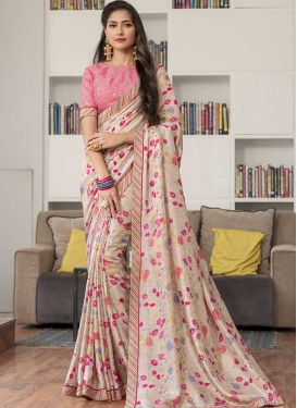 Beige and Pink Art Silk Classic Saree