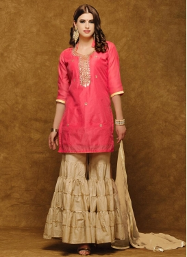 Beige and Pink Beads Work Trendy Designer Salwar Kameez