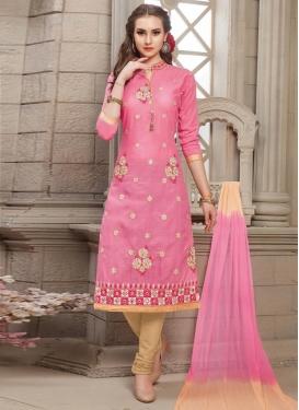 Beige and Pink Cotton Trendy Churidar Salwar Kameez