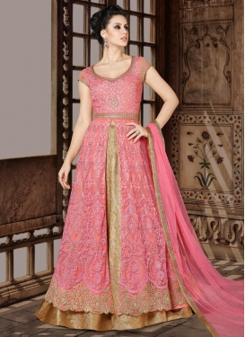 Beige and Pink Net Designer Kameez Style Lehenga Choli For Festival
