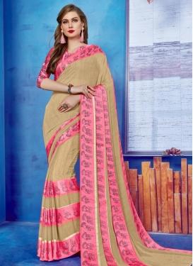 Beige and Pink Print Work Trendy Saree