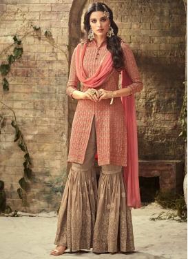 Beige and Pink Sharara Salwar Kameez For Festival