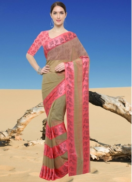 Beige and Pink  Traditional Saree