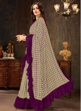 Beige and Purple Art Silk Trendy Designer Saree
