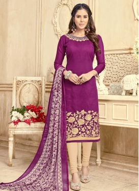 Beige and Purple Chanderi Cotton Trendy Straight Salwar Kameez For Casual