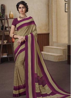 Beige and Purple Designer Contemporary Saree