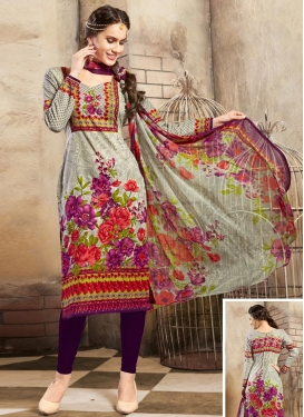 Beige and Purple Digital Print Work Cotton  Trendy Churidar Salwar Kameez