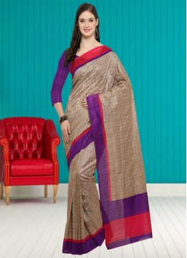 Beige and Purple Embroidered Work Bhagalpuri Silk Trendy Saree