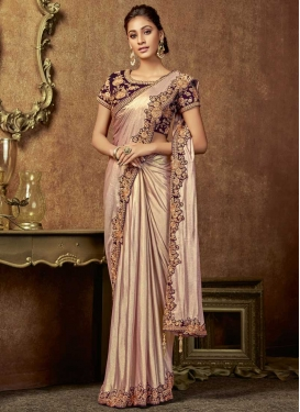 Beige and Purple Embroidered Work Designer Contemporary Style Saree