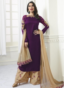 Beige and Purple Satin Palazzo Style Pakistani Salwar Suit