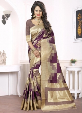 Beige and Purple Trendy Classic Saree For Festival