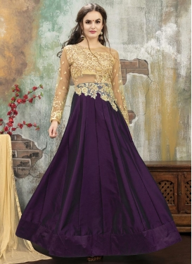 Beige and Purple Trendy Designer Lehenga Choli