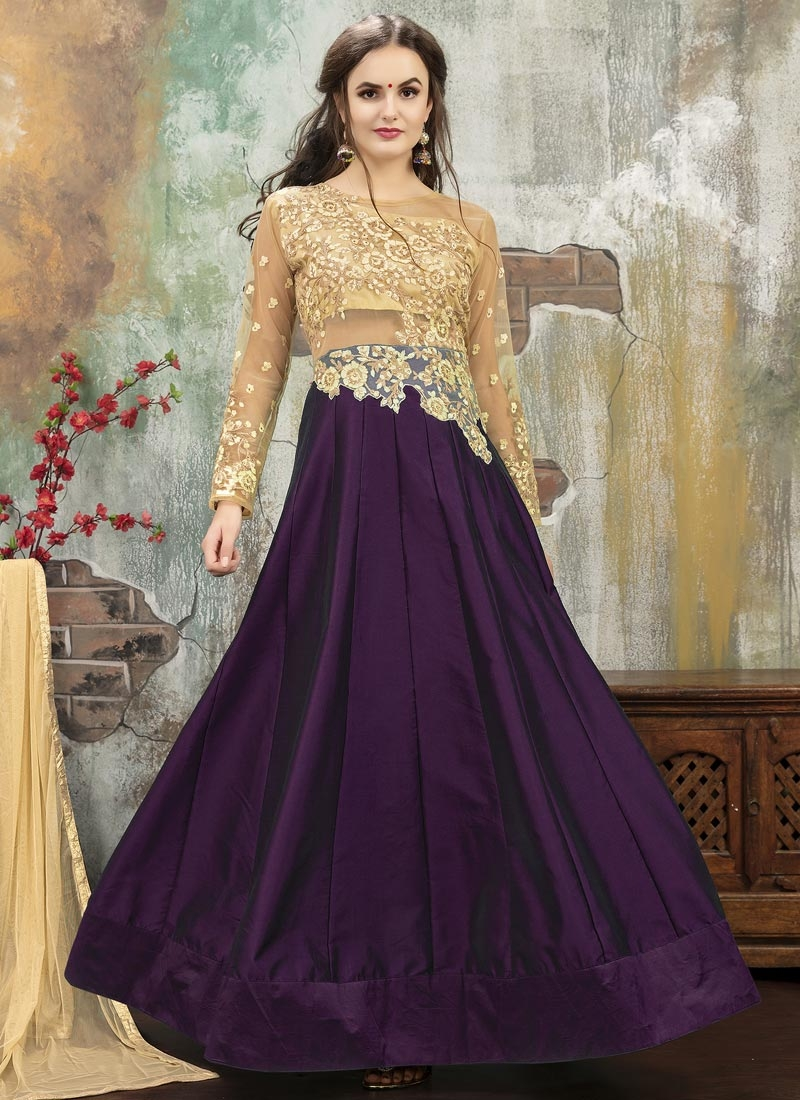 071c833ebd Shop Beige and Purple Trendy Designer Lehenga Choli Online : 44156