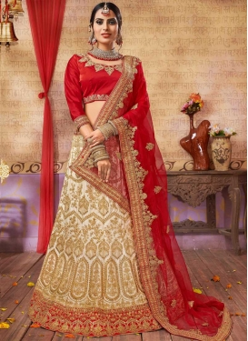Beige and Red A Line Lehenga Choli For Party