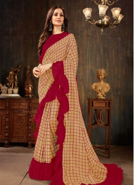 Beige and Red Art Silk Designer Traditional Saree For Ceremonial