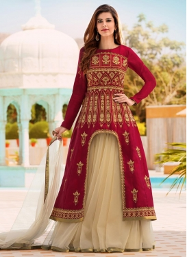 Beige and Red Banglori Silk Kameez Style Lehenga Choli