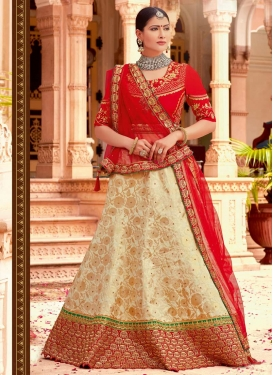 Beige and Red Beads Work Trendy A Line Lehenga Choli