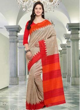 Beige and Red Bhagalpuri Silk Classic Saree