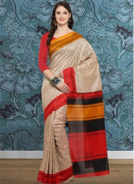Beige and Red Bhagalpuri Silk Trendy Saree