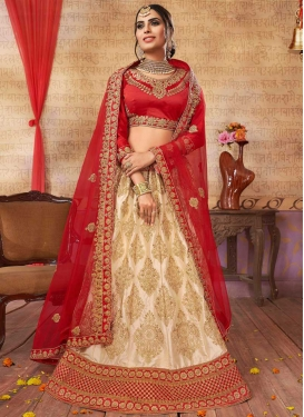 Beige and Red Booti Work Trendy Lehenga