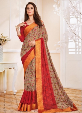 Beige and Red Contemporary Style Saree