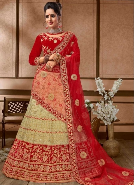 Beige and Red Cord Work Trendy Lehenga Choli