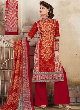 Beige and Red Cotton  Trendy Palazzo Salwar Suit