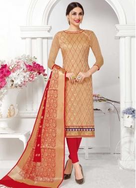 Beige and Red Cotton Trendy Salwar Kameez