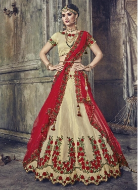 Beige and Red Designer Classic Lehenga Choli For Festival