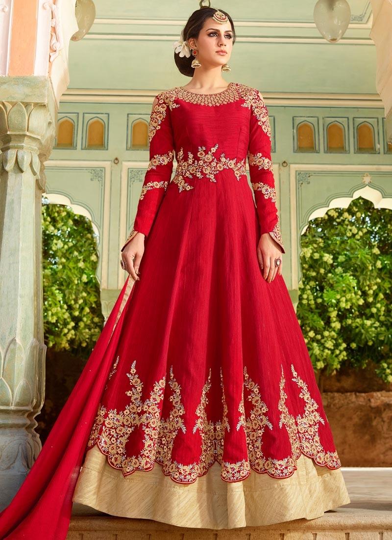 Beige and Red Designer Kameez Style Lehenga Choli