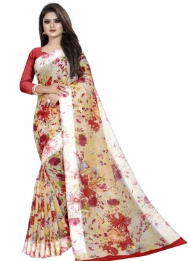 Beige and Red Digital Print Work Traditional Saree