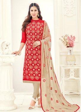 Beige and Red Embroidered Work Chanderi Cotton Trendy Churidar Salwar Kameez