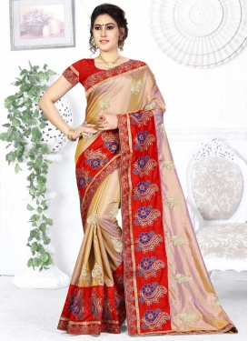 Beige and Red Embroidered Work Classic Saree
