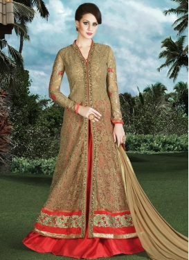 Beige and Red Embroidered Work Kameez Style Lehenga