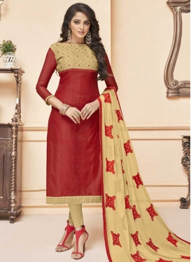 Beige and Red Embroidered Work Trendy Churidar Salwar Suit