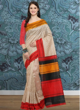 Beige and Red Embroidered Work Trendy Saree