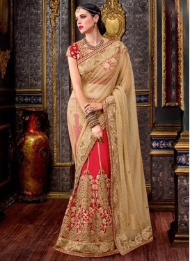 Beige and Red Fancy Fabric Lehenga Style Saree