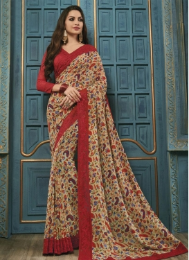 Beige and Red Faux Georgette Classic Saree