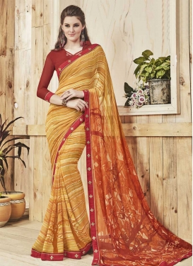Beige and Red Faux Georgette Contemporary Style Saree