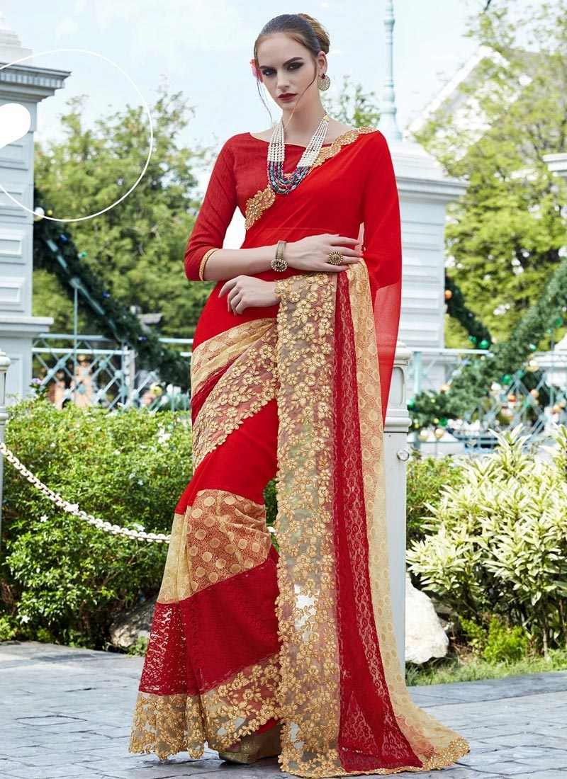 Beige and Red Faux Georgette Designer Traditional Saree For Ceremonial