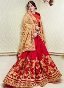 Beige and Red Half N Half Designer Saree