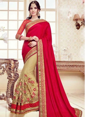 Beige and Red Half N Half Saree
