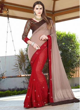Beige and Red  Half N Half Trendy Saree