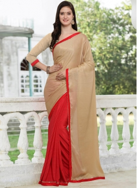 Beige and Red Half N Half Trendy Saree For Casual