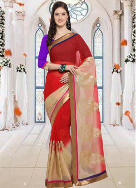 Beige and Red Lace Work Contemporary Style Saree