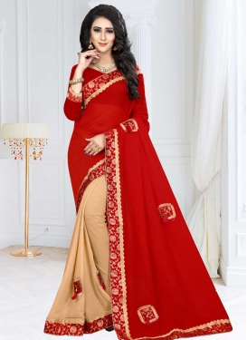 Beige and Red Lace Work Designer Half N Half Saree