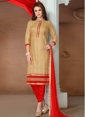 Beige and Red Lace Work Pant Style Designer Salwar Kameez