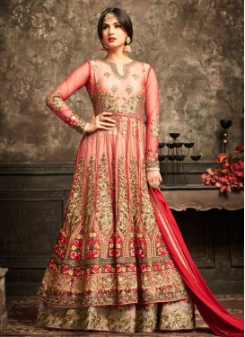 Beige and Red Layered Designer Anarkali Suit